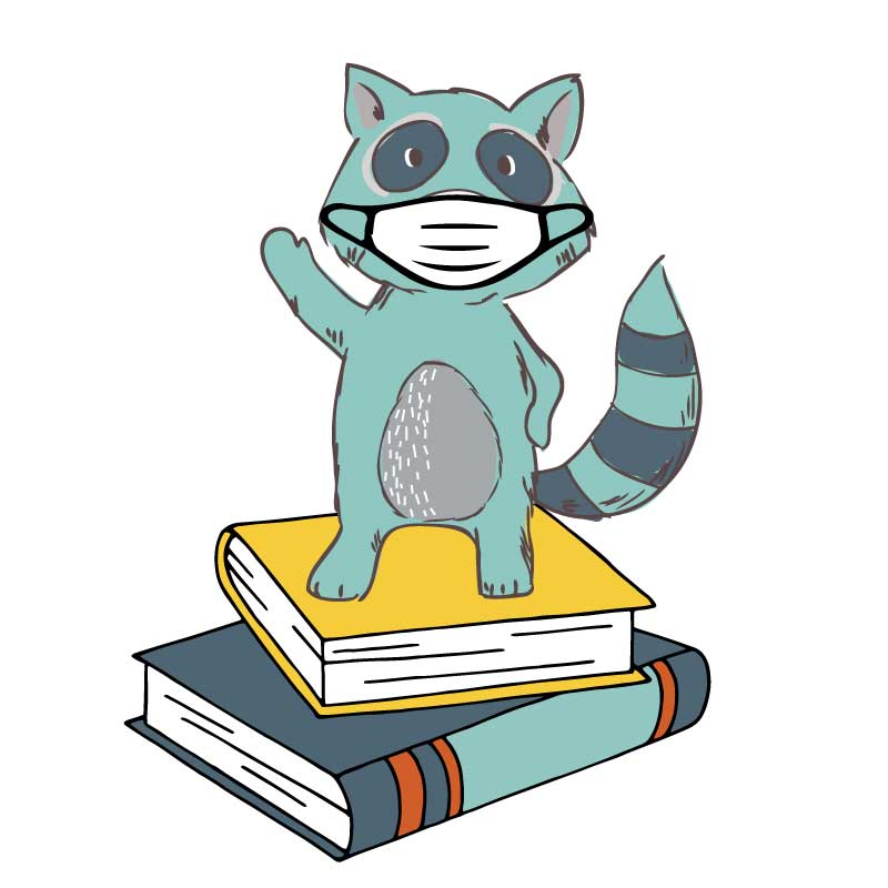 Raccoon cartoon wearing a mask, standing on books