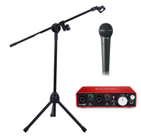 Microphone, Stand and Focusrite Scarlett 2i2 Preamp