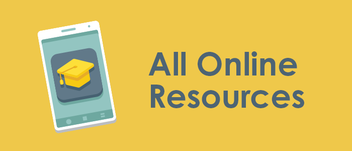 All Online Resources graphic using mobile phone icon with graduation cap imposed on top