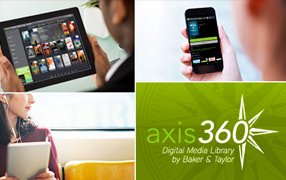 Four squares of images: three show smartphones and tablets in use, and the last shows the logo for Axis 360