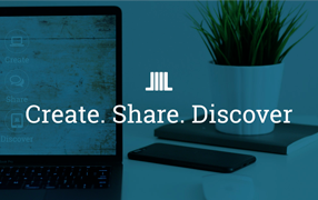 Icon for BiblioBoard, and the words: Create, Share, Discover against a dark blue overlay on a background photo of a tablet on a table with a notebook, smartphone and potted plant