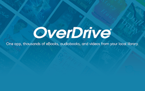 Logo for Overdrive app with blue background overlaying tiled books