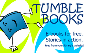 TumbleBook Library icon, a book doing a somersault, with text: e-books for e-books, arrows in bright blue and neon green in background