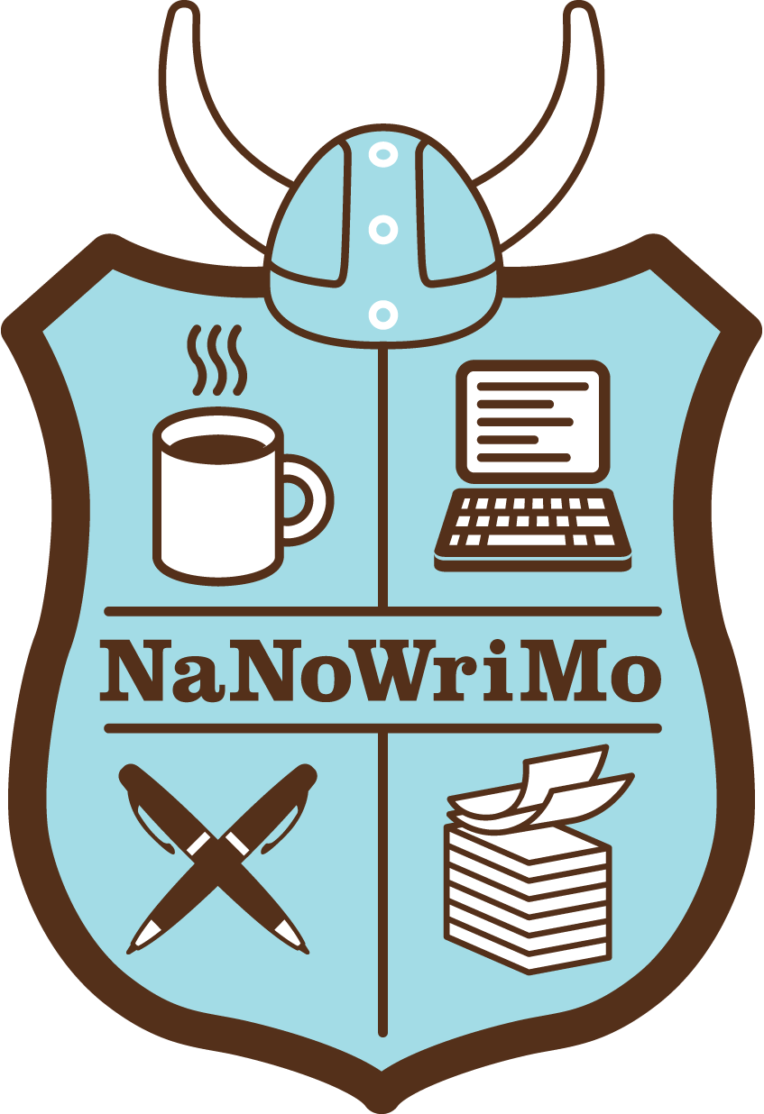 NaNoWriMo Light Blue and Black Shield Logo