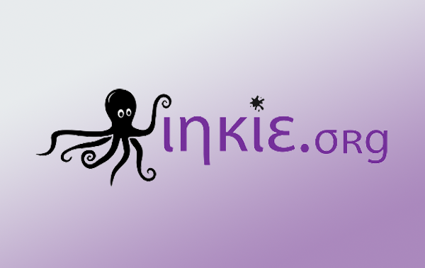Inkie.org logo, purple Inkie.org text with a cute black cartoon octopus