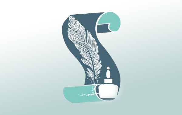 Writers Group logo, quill pen with a scroll in blue, white and aqua