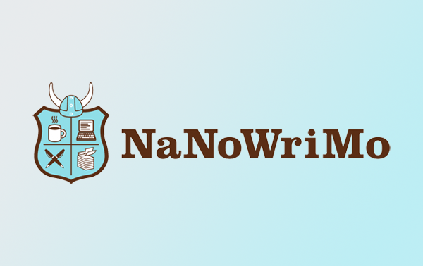 NaNoWriMo logo, brown NaNoWriMo text, icon-illustration-style light blue and brown shield divided into four with icons in each quadrant clockwise from top left: a cup of coffee, a laptop, a stack of papers with the top two pages curling up, and two pens crossed; a Viking-style helmet sits on top of the shield