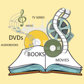 Book with flowing film, music notes and discs