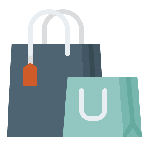 Shopping bags, one large blue with orange tag, and one small aqua
