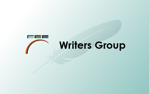 Writers Group with Library logo, on top of feather quill faded against aqua gradient background