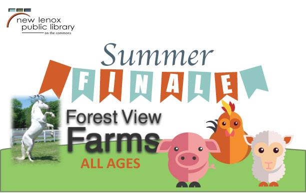 Illustration of a Petting Zoo with the Forest View Farms logo, a pink pig, orange chicken and white fluffy lamb