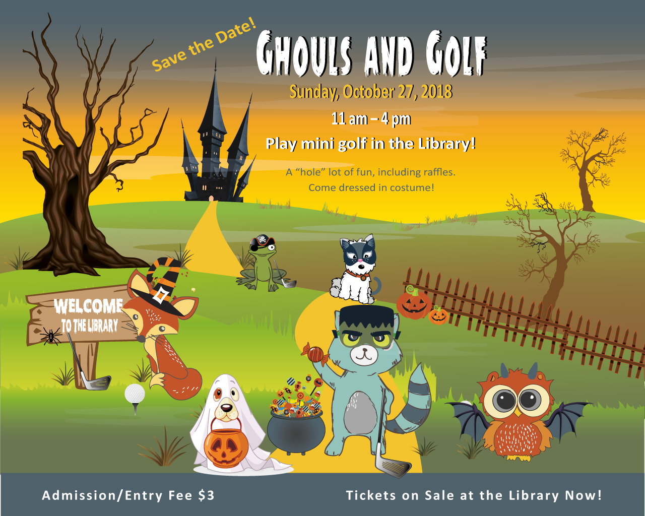 Ghouls and Golf illustration. Six cartoon animals stand on grassy hills in front of a haunted mansion with bare trees. A fox in a witch's hat stands next to a golf club, a golf ball, and a sign that says Welcome to the Library. A frog wears a pirate hat and eye patch. A fluffy white dog wears a black cat mask, and sits next to two jack-o-lanterns. In the foreground, a basset hound wearing a ghost costume carries a plastic pumpkin bag for candy. To the right, a raccoon in a Frankenstein masks holds up candy from the full candy cauldron between them. Farthest right, an owl wears horns and bat wings.