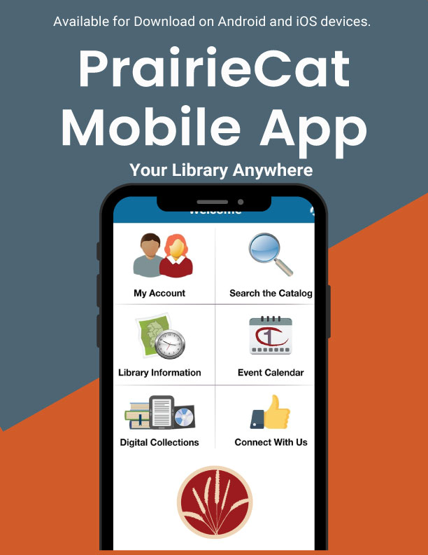 PrairieCat mobile app screen shot on smartphone against library blue and orange background