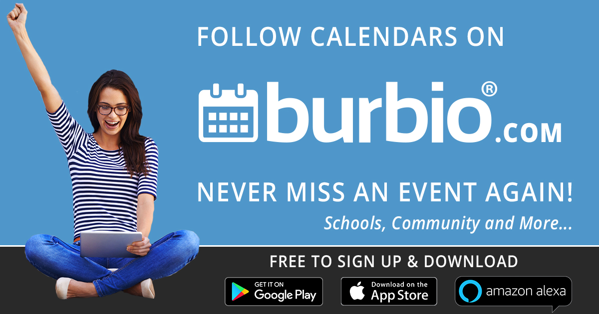 Follow calendars on Burbio.com and never miss an event again! White text on blue background, with female young adult raising arm in happy victory pose